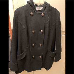 Anne Klein size 16 black hooded coat with buttons